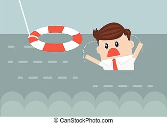 Businessman With Life Preserver. Flat design
