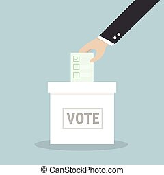 Businessman hand putting voting paper in the ballot box.
