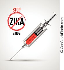 Syringe with stop ZIKA virus.
