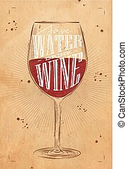 Poster drink wine kraft - Poster wine glass lettering save...