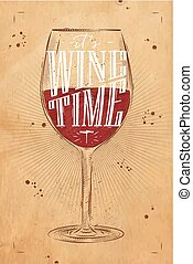 Poster wine time kraft - Poster wine glass lettering its...