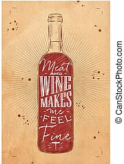 Poster meat and wine chalk