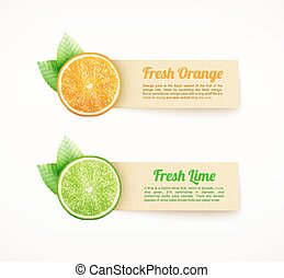 Set of labels with orange and lime