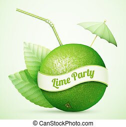 Fresh lime with umbrella and stick eps10 vector illustration