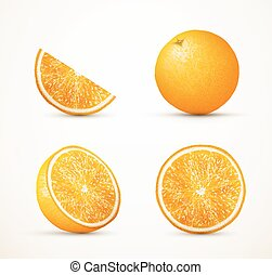 Set of oranges in different view - Set of oranges in...