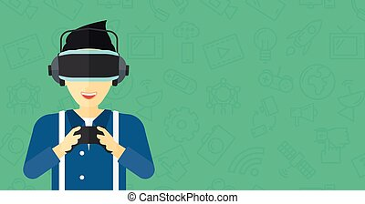 Man wearing virtual reality headset. - An asian man wearing...