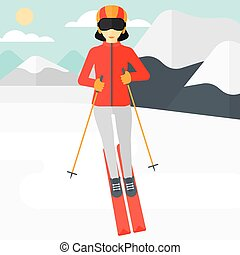Young woman skiing. - An asian woman skiing on the...