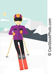 Young man skiing. - An asian man skiing on the background of...