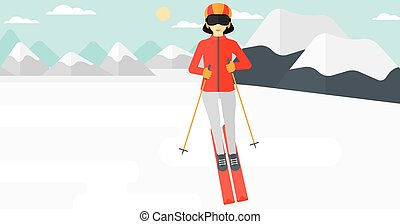 Young woman skiing - An asian woman skiing on the background...
