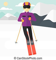 Young man skiing - An asian man skiing on the background of...
