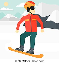 Young man snowboarding - An asian man snowboarding on the...