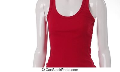 Red tank top on mannequin. Tank top with lace shorts. Girl's...