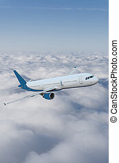 Airplane in the sky. Large passenger plane