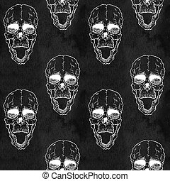 Seamless pattern with skull on grunge background - Terrible...