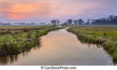 Regge river in april - Regge river, Twente Netherlands A...