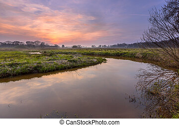 Regge river sunset - Sunset over a lowland meander in the...