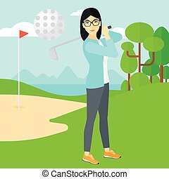Golf player hitting the ball. - An asian woman hitting the...