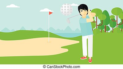 Golf player hitting the ball. - An asian man hitting the...