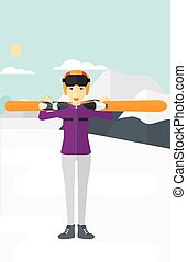 Woman holding skis - An asian woman carrying skis on her...