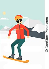 Young woman snowboarding - An asian woman snowboarding on...