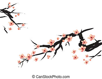 chinese painting of pink plum in white background
