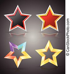 Full color star set. Vector illustration.