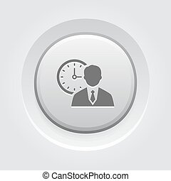 Time Management Icon. Business Concept. Grey Button Design