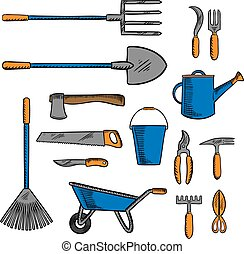 Colored sketch icon of gardening hand tools - Garden tools...