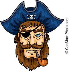 Cartoon pirate captain with smoking pipe - Bearded cartoon...