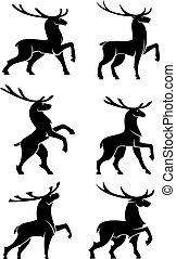 Wild bull elks or deers black silhouettes