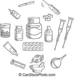 Medicine and pharmacy sketch icon - Medication bottles...