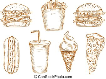 Sketches of fast food snacks