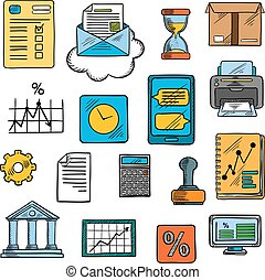 Business, office, financial symbols, sketch style - Business...