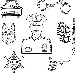 Police officer or policeman profession sketch icon - Sketch...