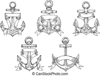 Heraldic marine anchors with ribbons - Sketches of vintage...