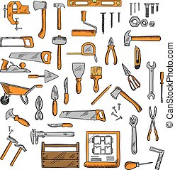 Sketched tools for building, carpentry, shoemaking -...