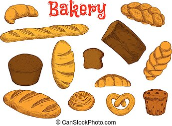 Healthy bakery and pastry sketches - Rye bread and wheat...