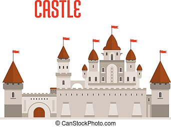 Royal castle with towers and curtain walls - Fantasy royal...