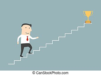 Businessman walking up stairs to sucess - Successful cartoon...