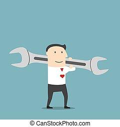 Businessman with huge wrench on shoulder