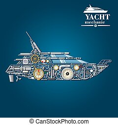 Yacht mechanics icon of motor boat from parts - Yacht...