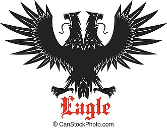 Double headed black heraldic eagle icon - Royal double...