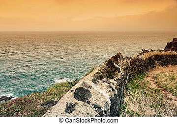 Azores landscape of Atlantic Ocean and coastline