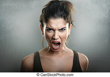 Scream of angry upset woman - Scream of angry upset young...