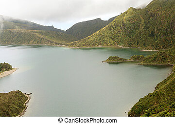 Volcanic lake in Azores, Portugal