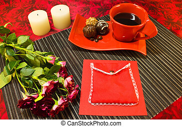 Coffee in red cup with gift envelope - Still life of a...