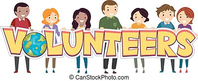 Stickman Volunteers - Illustration of a Group of Stickman...