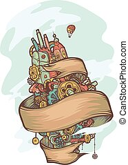 Steampunk Doodle Floating Island Ribbon
