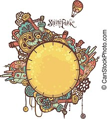 Steampunk Doodle Frame - Illustration of a set of Aesthetic...