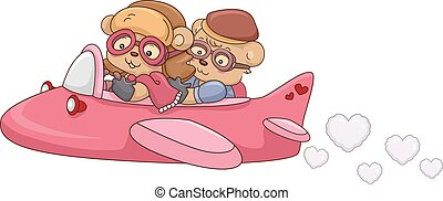 Bear Couple Airplane - Illustration of a Bear Couple Riding...